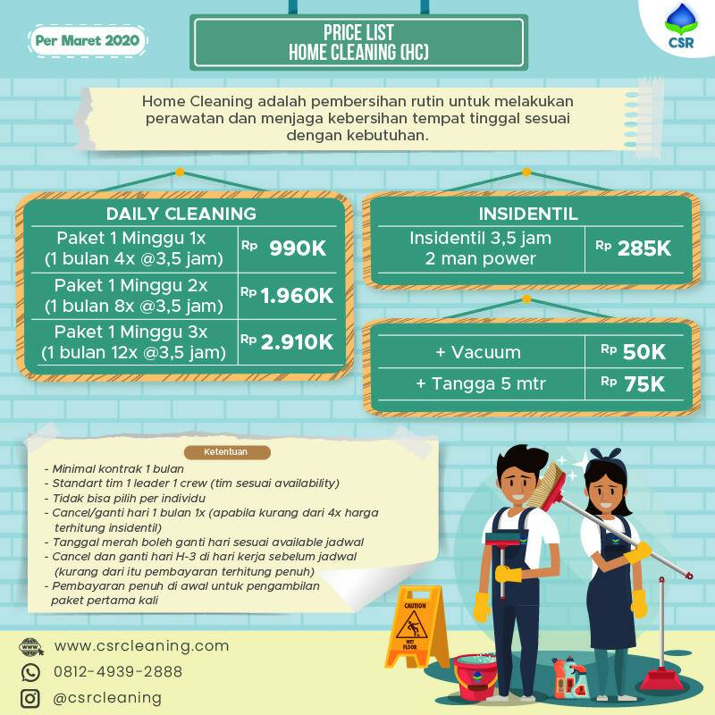 CSR Price List Home Cleaning