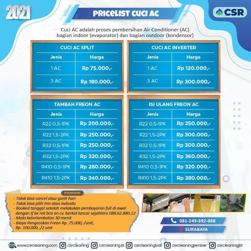Pricelist Cuci AC 2021